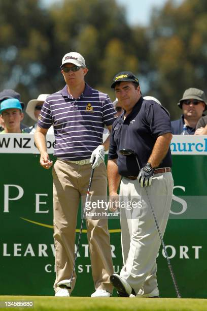 Craig Parry and Brad Kennedy of Australia during day three of the New Zealand Open at Clearwater Golf Course on December 3, 2011 in Christchurch, New...