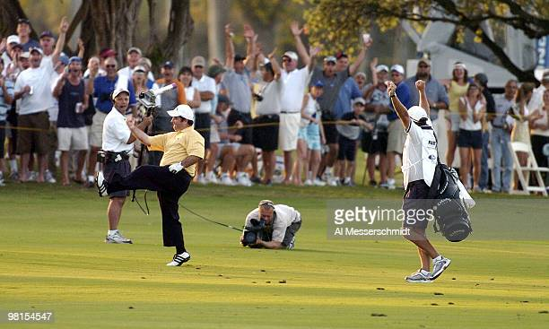 Craig Parry of Australia dances in the fairway in the final round of the PGA Tour Ford Championship at Doral in Miami, Florida March 7, 2004. Parry...