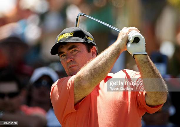 Craig Parry of Australia plays an approach shot on the 6th hole during round two of the 2009 Australian Masters at Kingston Heath Golf Club on...