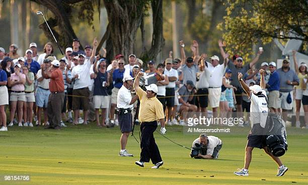 Craig Parry of Australia sinks a shot from the 18th fairway in the final round of the PGA Tour Ford Championship at Doral in Miami, Florida March 7,...