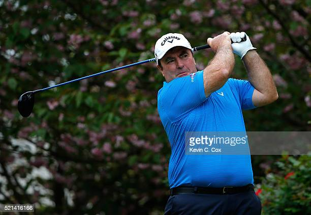 Craig Parry of Australia tees off the fourth hole during the first round of the Mitsubishi Electric Classic at TPC Sugarloaf on April 15, 2016 in...