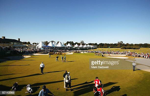 Craig Parry of Australia throws his ball into the crowd after winnning the 2005 Heineken Classic at the Royal Melbourne Golf Club February 6 2005 in...