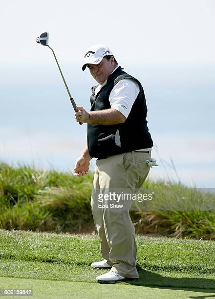 Craig Parry reacts after putting on the fourth hole during Round One of the Nature Valley First Tee Open at Pebble Beach Golf Links on September 16,...