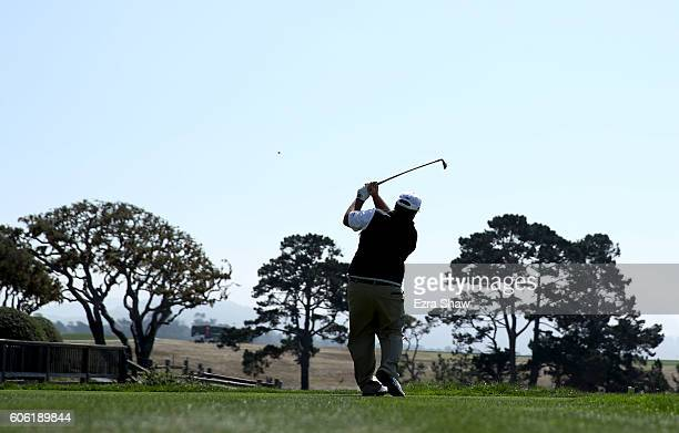 Craig Parry tees off on the fifth hole during Round One of the Nature Valley First Tee Open at Pebble Beach Golf Links on September 16, 2016 in...