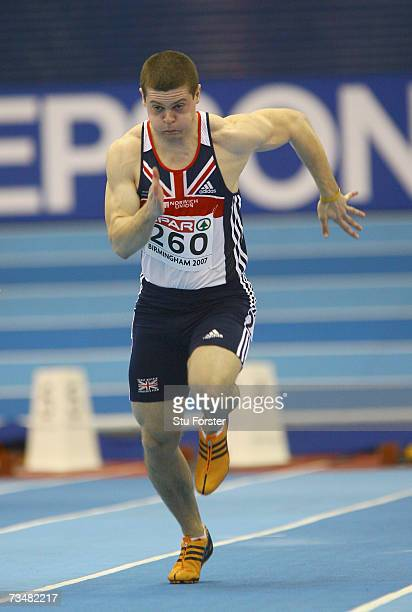 Craig Pickering of Great Britain competes during the Men's 60 Metres First Round on day two of the 29th European Athletics Indoor Championships at...