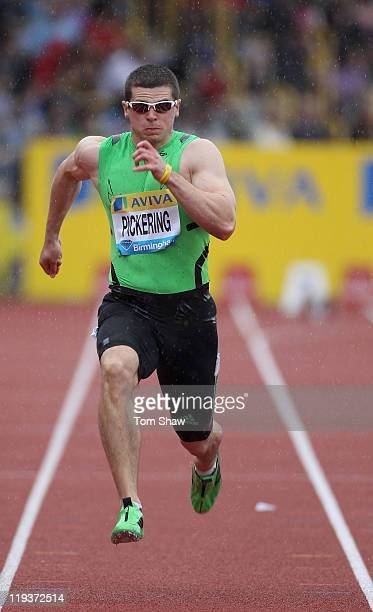 Craig Pickering of Great Britain in action in the Men's 100 metres heats during the Aviva Grand Prix at Alexander Stadium on July 10 2011 in...