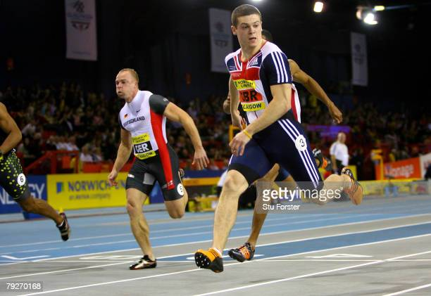 Craig Pickering of Great Britain wins the Mens 60 metres during the Norwich Union International Match at Kelvin Hall on January 26 2008 in Glasgow...