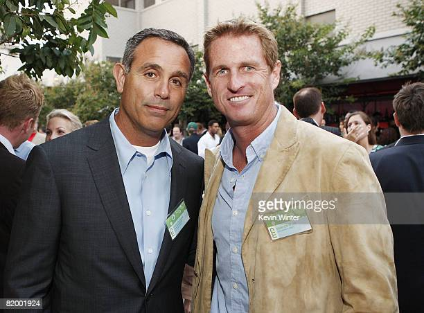 """Craig Piligian, executive producer of """"In Harm's Way"""" and host Hunter Ellis pose at the CW/Showtime/CBS Television TCA Party at Boulevard3 on July..."""
