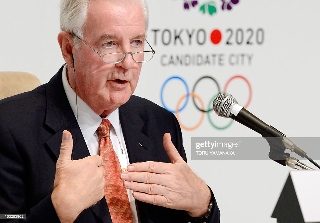 Craig Reedie, chief of the International Olympic Committee (IOC) evaluation commission answers questions during a press conference in Tokyo on March 7, 2013. The 14-member IOC team, evaluating bids by Tokyo, Madrid and Istanbul for the event, heard presentations on security, medical services and environment on the final day of a four-day inspection tour. AFP PHOTO/Toru YAMANAKA