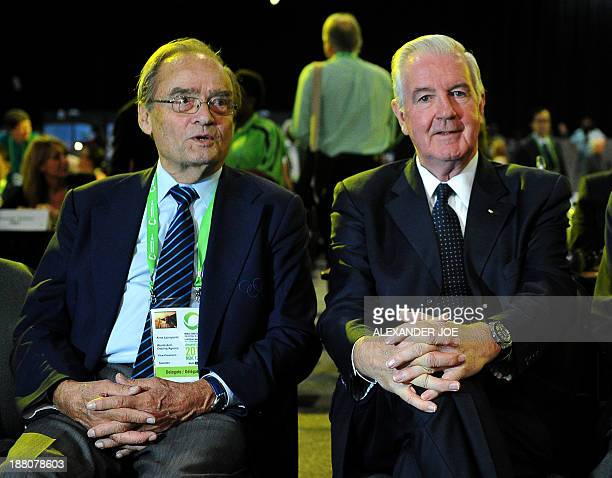 Craig Reedie the new president of the World AntiDoping Agency and outgoing Vice President Arne Ljungqvist attend a session of the 2013 World...