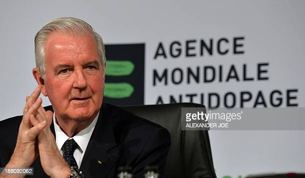 Craig Reedie the new president of the World AntiDoping Agency addresses the media during a press confrence at the end of 2013 World Conference on...