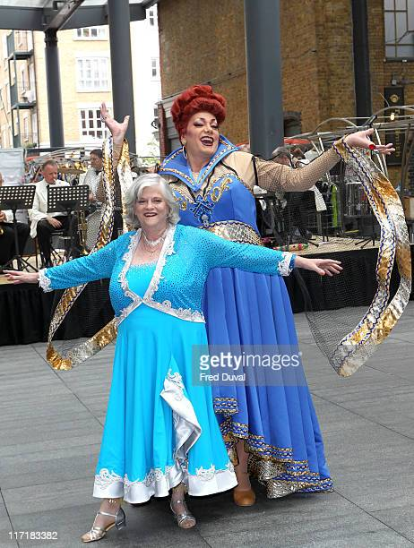 Craig Revel Horwood and Ann Widdecombe promoting the pantomime 'Snow White And The Seven Dwarfs' at Spitafield in East London on June 24 2011 in...