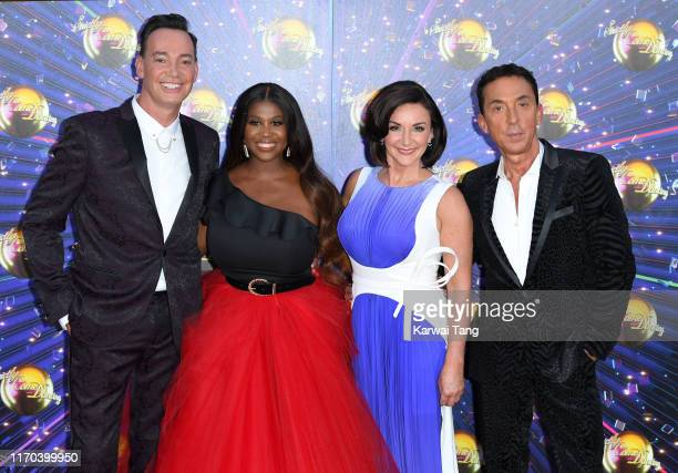 """Craig Revel Horwood, Motsi Mabuse, Bruno Tonioli and Shirley Ballas attend the """"Strictly Come Dancing"""" launch show red carpet arrivals at Television..."""