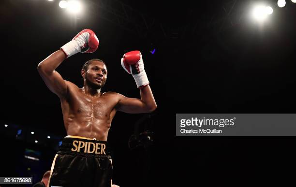 Craig Richards of England celebrates after securing victory over Norbert Szekeres of Hungary during their LightHeavyweight contest on the Burnett...