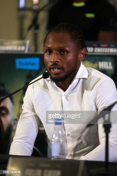 Craig Richards speaks to the media during a press conference with boxing promoter Eddie Hearn at The Courthouse Hotel on September 13 2018 in London...
