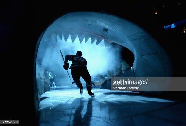 Craig Rivet of the San Jose Sharks skates out onto the ice before the NHL game against the Phoenix Coyotes at HP Pavilion on December 20 2007 in San...
