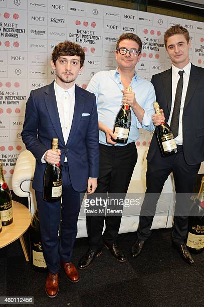 Craig Roberts David Livingstone producer of Pride accepting the Best Supporting Actress award on behalf of Imelda Staunton and Max Irons pose at The...