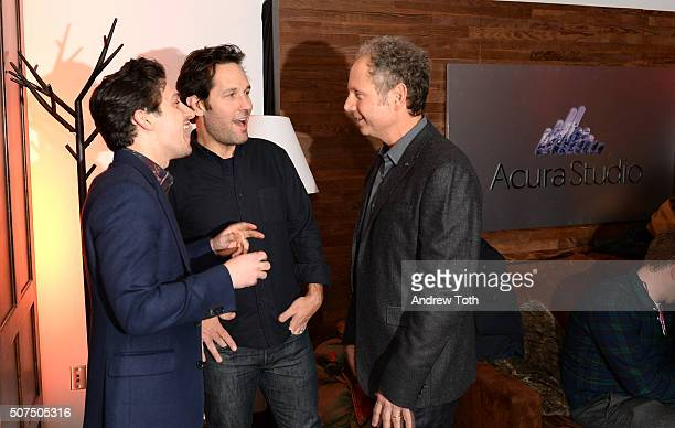 Craig Roberts Paul Rudd and director Rob Burnett attend 'Fundamentals of Caring' party hosted by SUDO at Acura Studio at Sundance on January 29 2016...