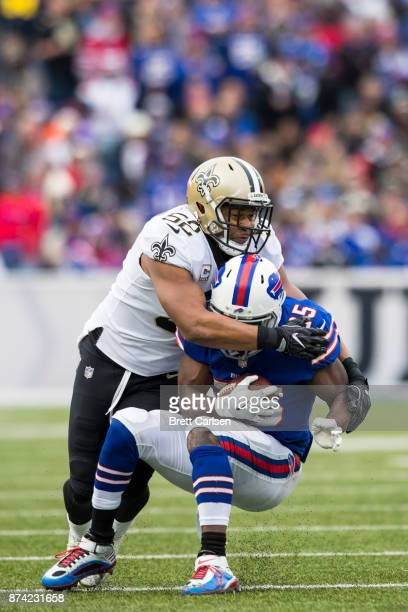 Craig Robertson of the New Orleans Saints tackles LeSean McCoy of the Buffalo Bills during the second quarter at New Era Field on November 12 2017 in...