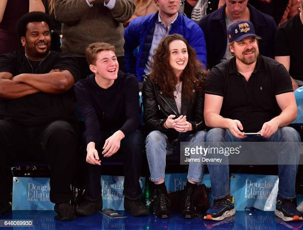 Craig Robinson guests and David Harbour attend Toronto Raptors Vs New York Knicks game at Madison Square Garden on February 27 2017 in New York City