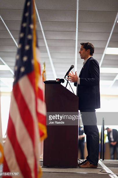 Craig Romney the son of Republican presidential candidate former Massachusetts Gov Mitt Romney speaks at a campaign rally for his father at Florida...