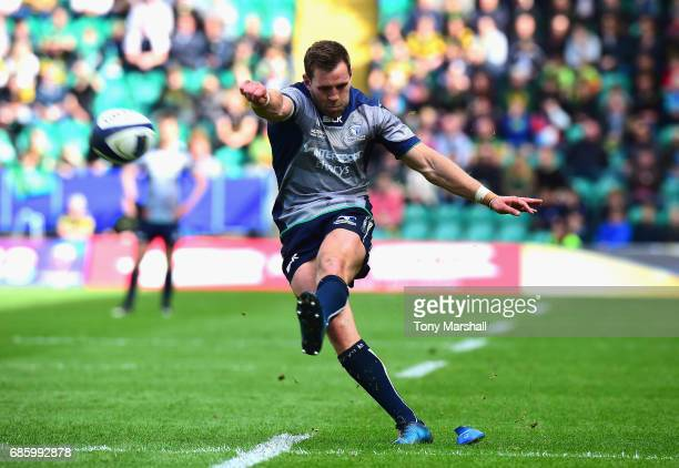 Craig Ronaldson of Connacht takes a conversion kick during Champions Cup Playoff match between Northampton Saints and Connacht at Franklin's Gardens...