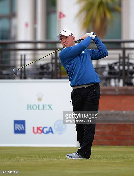Craig Ross of Kirkhill plays his first shot on the 1st tee during The Amateur Championship 2015 - Day Four at Carnoustie Golf Club on June 18, 2015...