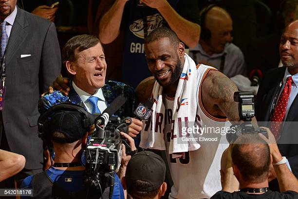 Craig Sager and LeBron James of the Cleveland Cavaliers are seen after the game in Game Six of the 2016 NBA Finals on June 16 2016 at Quicken Loans...