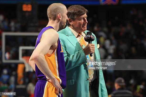 Craig Sager of TBS Sports interviews Steve Blake of the Los Angeles Lakers after the Lakers defeated the Denver Nuggets in Game Four of the Western...