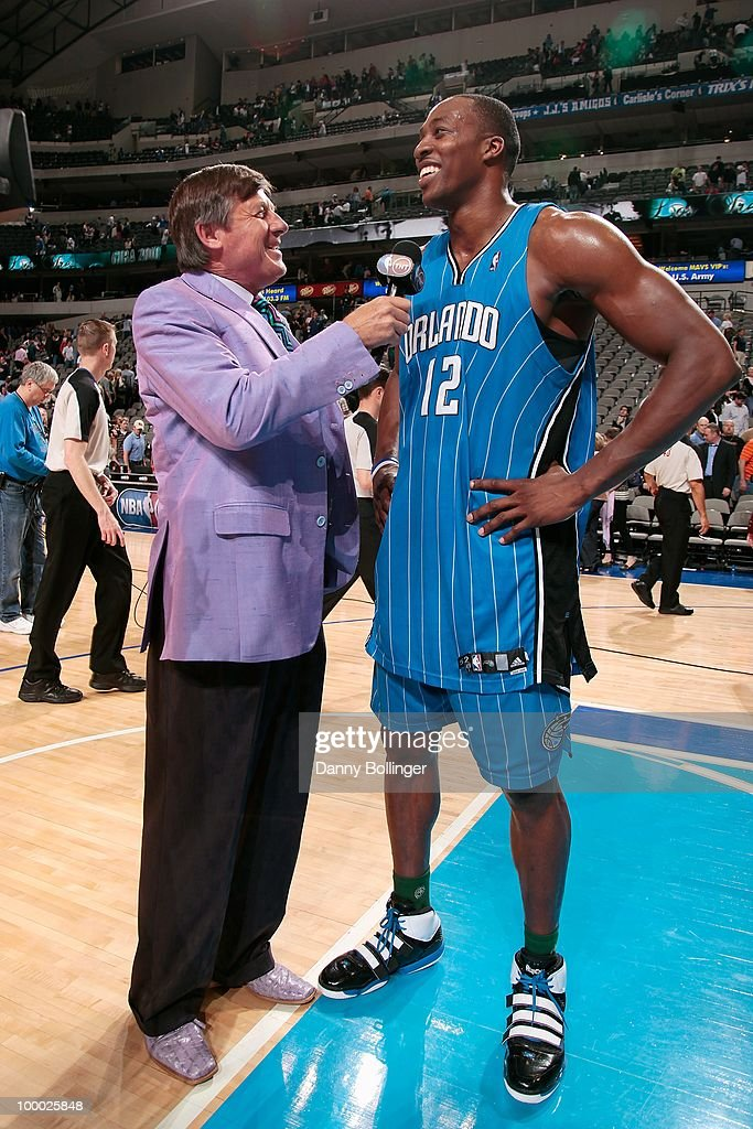 Craig Sager of TNT interviews Dwight Howrad #12 of the Orlando Magic following the game against the Dallas Mavericks on April 1, 2010 at American Airlines Center in Dallas, Texas. The Magic won 97-82.