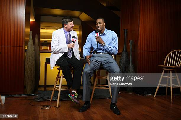 Craig Sager of TNT talks with Dwight Howard of the Orlando Magic during the All Star Media Availability as part of the 2009 NBA AllStar Weekend on...