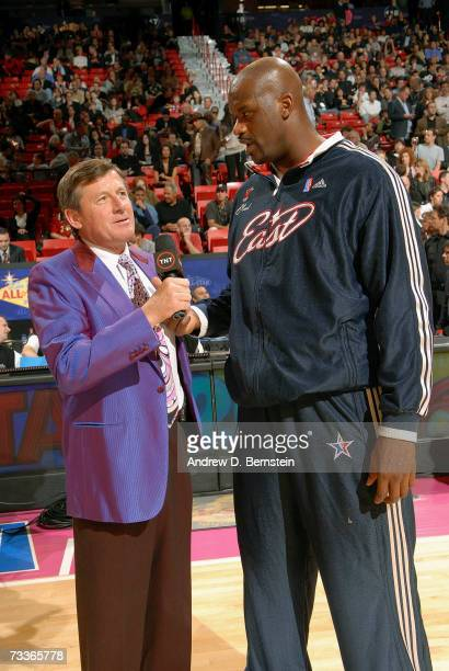 Craig Sager of TNT television talks with Shaquille O'Neal of the Eastern Conference before the start of the 2007 NBA AllStar Game on February 18 2007...