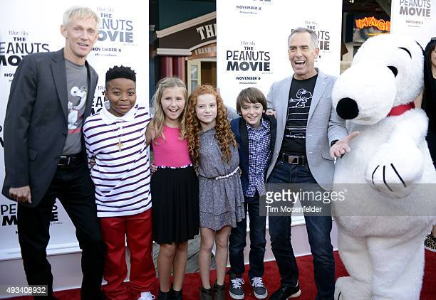 Craig Scultz Mar Mar Hadley Belle Miller Francesca Capaldi Noah Schnapp Steve Martino and Snoopy attend the premiere of 20th Century Fox's 'The...