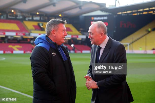 Craig Shakespeare Assistant Manager of Everton speaks to Steve Walsh Director of Football at Everton prior to the Premier League match between...