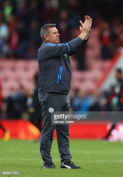 Craig Shakespeare manager of Leicester City applauds supporters after the scoreless draw in the Premier League match between AFC Bournemouth and...