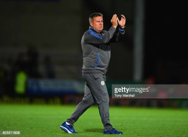 Craig Shakespeare, Manager of Leicester City applauds the fans at the end of the match during the Pre-Season Friendly match between Burton Albion v...