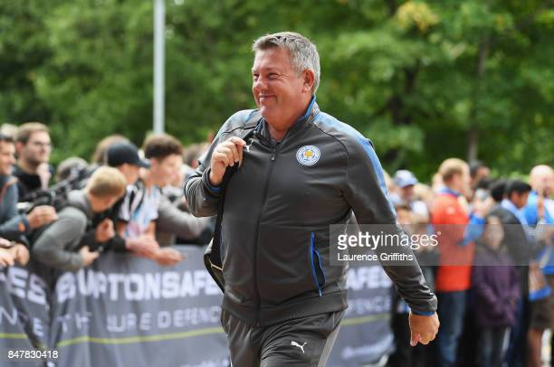 Craig Shakespeare, manager of Leicester City arrives at the stadium prior to the Premier League match between Huddersfield Town and Leicester City at...