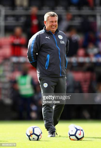 Craig Shakespeare manager of Leicester City looks on as his team warm up prior to the Premier League match between AFC Bournemouth and Leicester City...