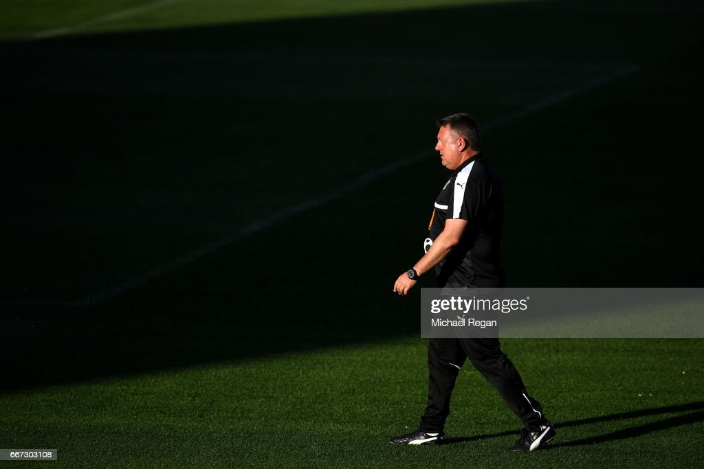 Craig Shakespeare, Manager of Leicester City looks on during a Leicester City training session ahead of their UEFA Champions League Quarter-Final match against Atletico Madrid at Vicente Calderon Stadium on April 11, 2017 in Madrid, Spain.