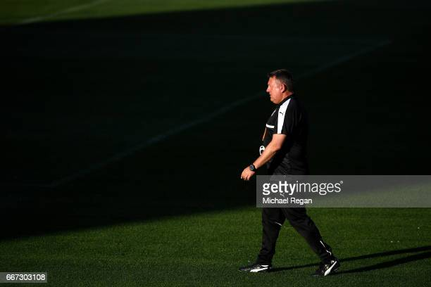 Craig Shakespeare, Manager of Leicester City looks on during a Leicester City training session ahead of their UEFA Champions League Quarter-Final...