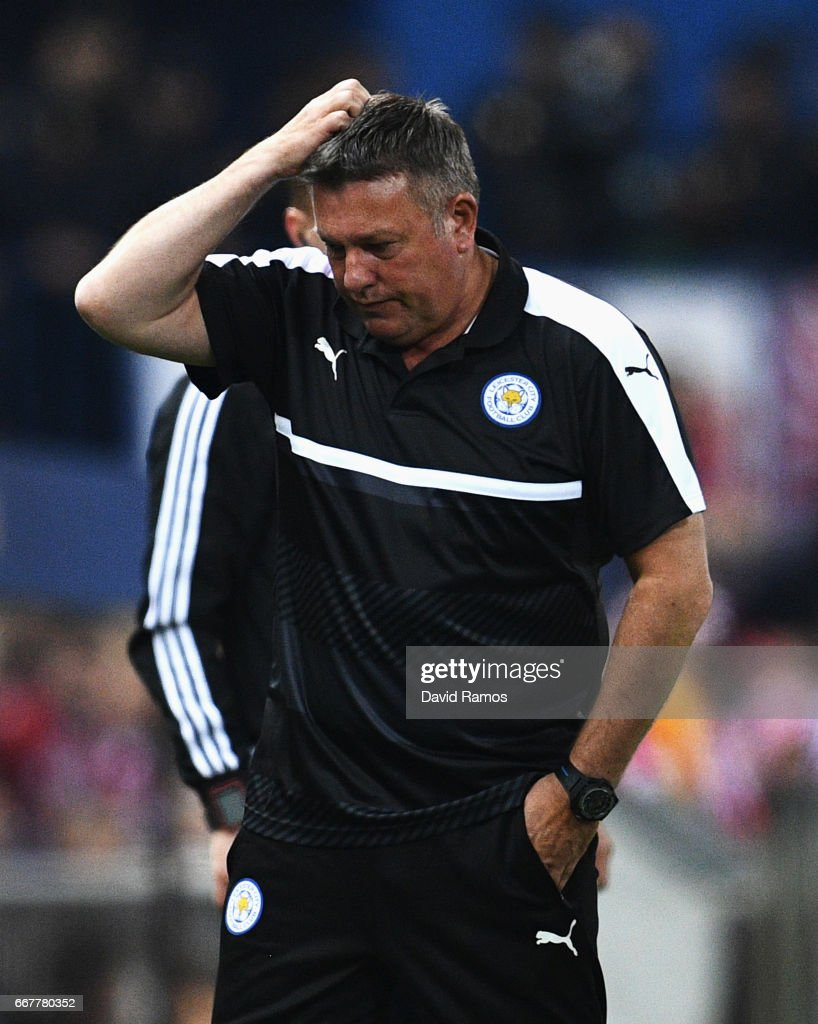Craig Shakespeare, Manager of Leicester City scratches his head during the UEFA Champions League Quarter Final first leg match between Club Atletico de Madrid and Leicester City at Vicente Calderon Stadium on April 12, 2017 in Madrid, Spain.