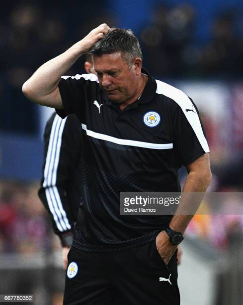 Craig Shakespeare Manager of Leicester City scratches his head during the UEFA Champions League Quarter Final first leg match between Club Atletico...