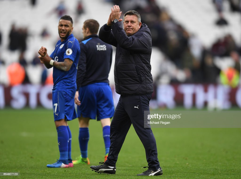 Craig Shakespeare, manager of Leicester City shows appreciation to the fans after the Premier League match between West Ham United and Leicester City at London Stadium on March 18, 2017 in Stratford, England.