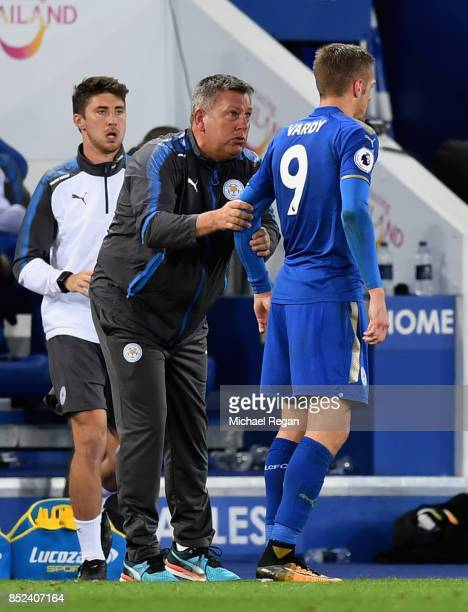 Craig Shakespeare manager of Leicester City speaks to Jamie Vardy of Leicester City during the Premier League match between Leicester City and...
