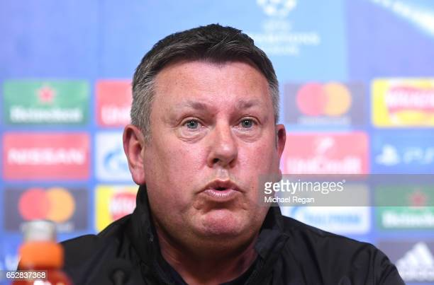 Craig Shakespeare, Manager of Leicester City talks during a press conference ahead of their UEFA Champions League Round of 16 match against Seville...