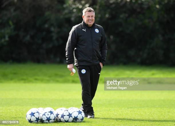 Craig Shakespeare, Manager of Leicester City watches the squad train during a Leicester City Training Session ahead of their UEFA Champions League...