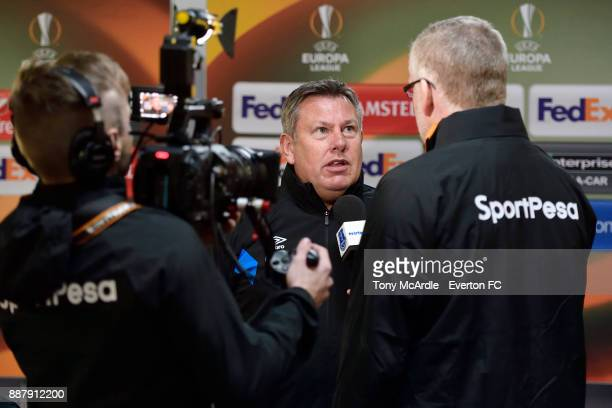 Craig Shakespeare of Everton speaks to the media after the UEFA Europa League Group E match between Apollon Limassol and Everton at GSP Stadium on...