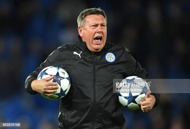 Craig Shakespeare the interim Manager of Leicester City takes charge of the pre match warm up during the UEFA Champions League Round of 16, second...