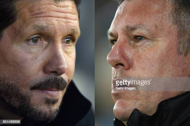 COMPOSITE OF TWO IMAGES Image numbers 521156498 and 653350792 In this composite image a comparision has been made between Atletico Madrid coach Diego...