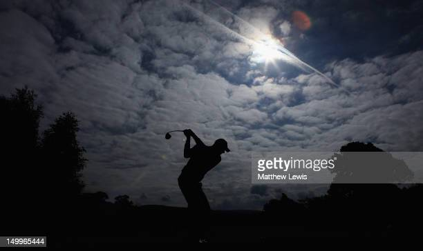 Craig Shave of Whetstone Golf Club tees offon the 5th hole during the second day of the Glenmuir PGA Professional Championship at Carden Park Golf...